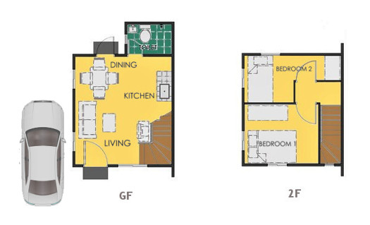 Reva Floor Plan House and Lot in Subic